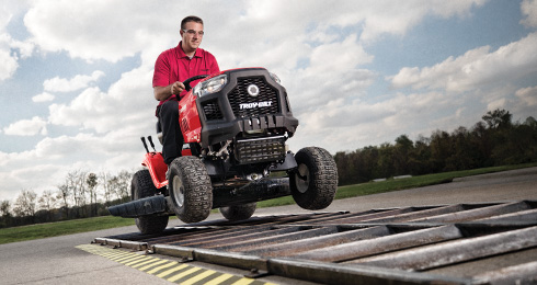 man testing troy-bilt riding mower
